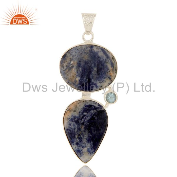 Natural Sodalite And Blue Topaz Gemstone Pendant Made In Solid Sterling Silver