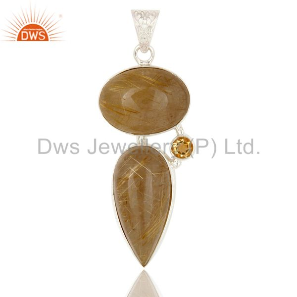 Natural Yellow Rutile and Citrine Gemstone Pendant Made In Solid Sterling Silver