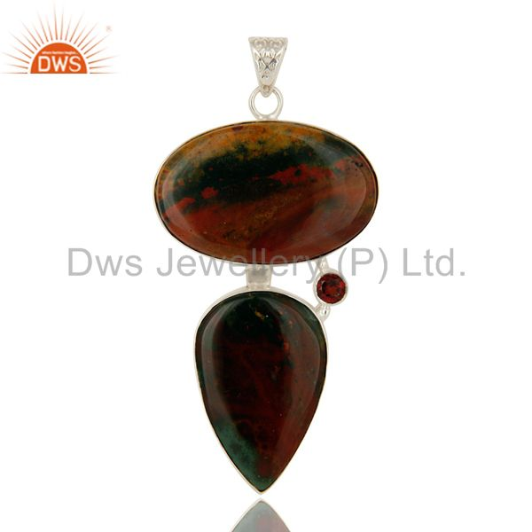 925 Sterling Silver Natural Blood Stone Bezel Set Pendant With Garnet