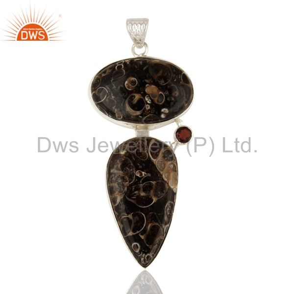 Natural Garnet And Turritella Agate Sterling Silver Pendant