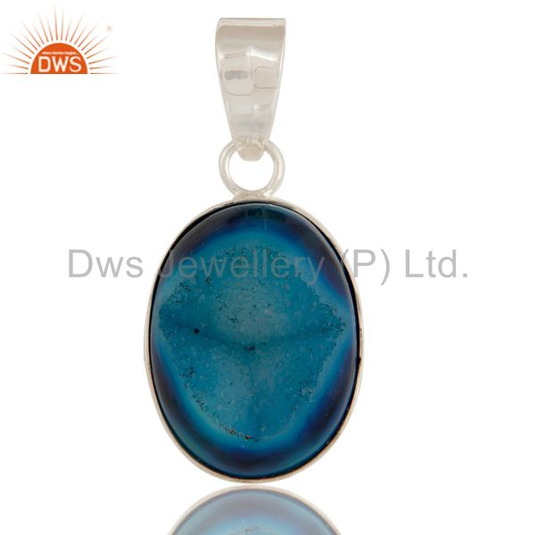 Ladies Genuine Oval Blue Druzy Agate Solid Sterling Silver Handmade Pendant
