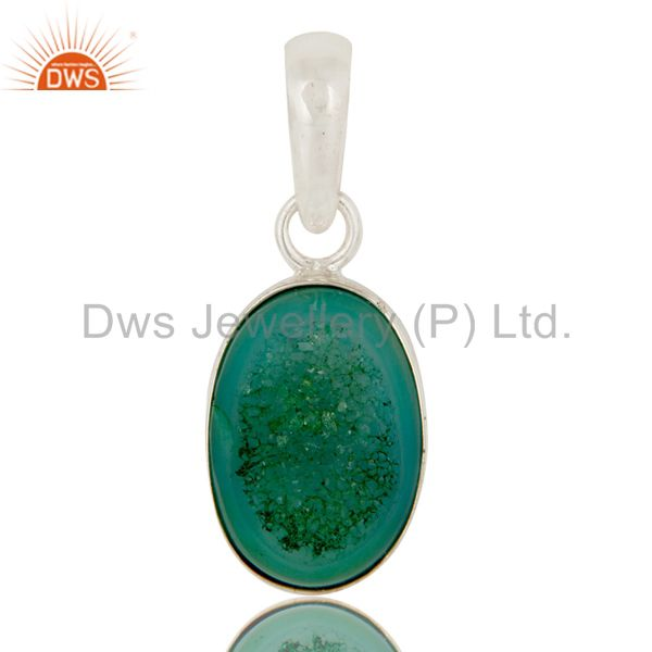 Genuine 925 Sterling Silver Natural Green Druzy Agate Bezel Setting Pendant