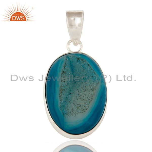 Natural Blue Druzy Agate Bezel Setting Pendant Made In Solid Sterling Silver