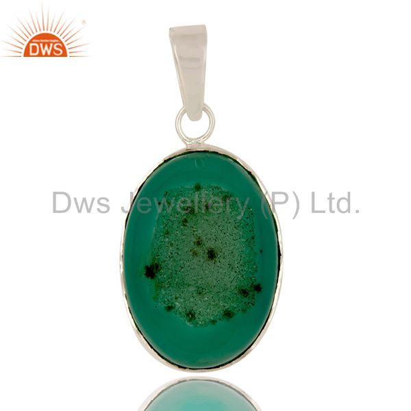 Handcrafted solid sterling silver green druzy agate bezel set pendant