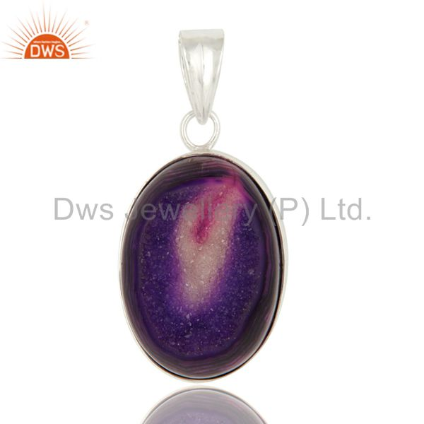 Natural Purple Druzy Agate Handmade Sterling Silver Bezel Set Pendant