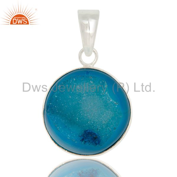 Natural Blue Druzy Agate Solid Sterling Silver Bezel Set Pendant