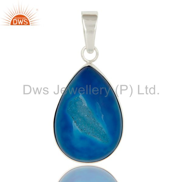 Natural Blue Druzy Agate Handcrafted Sterling Silver Bezel Set Pendant