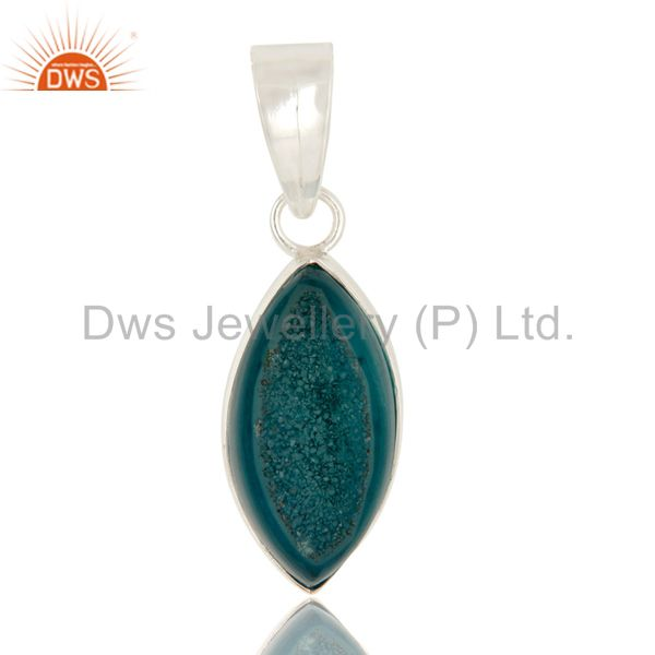 Marquise Shape Blue Druzy Agate Sterling Silver Bezel-Setting Pendant