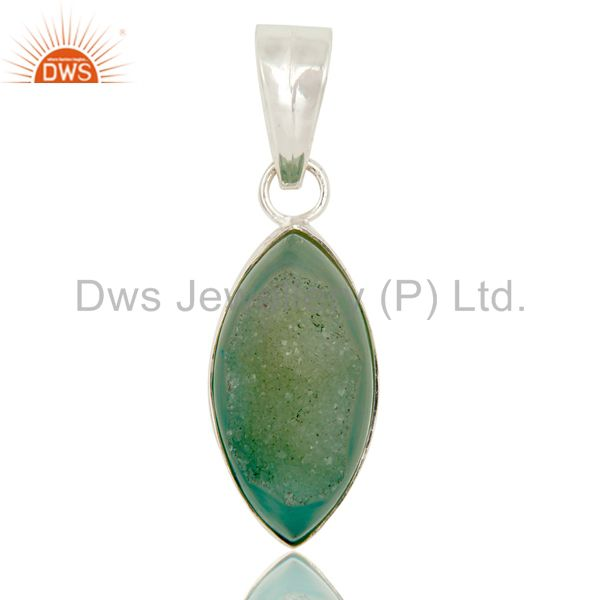 Light Green Druzy Agate Gemstone Genuine Sterling Silver Bezel Set Pendant