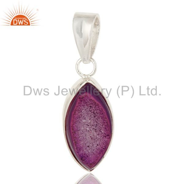 Handmade solid sterling silver pink druzy agate marquise pendant