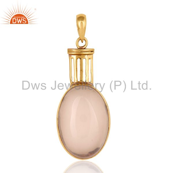 Natural Rose Quartz Gemstone Pendant - Yellow Gold Plated