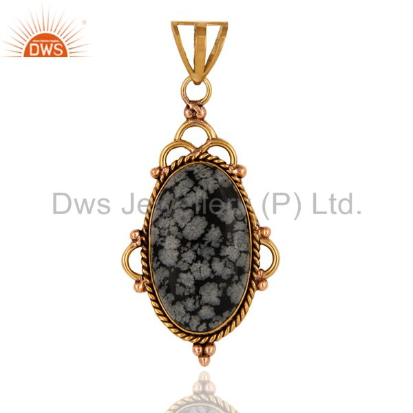 Natural Snowflake Obsidian Gemstone Pendant In Yellow Gold Plated Over Brass