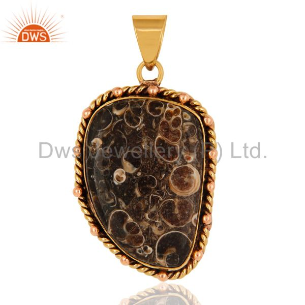 18K Yellow Gold Plated Natural Turritella Agate Gemstone Pendant