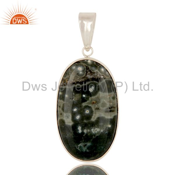 925 Sterling Silver Natural Ocean Jasper Gemstone Bezel Set Pendant