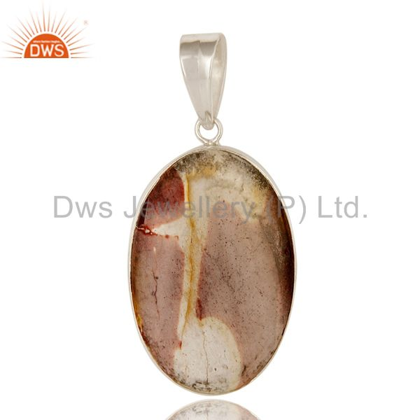 Natural Mookaite Gemstone Bezel Set Sterling Silver Pendant