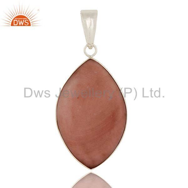 925 Sterling Silver Natural Pink Opal Gemstone Bezel Set Pendant