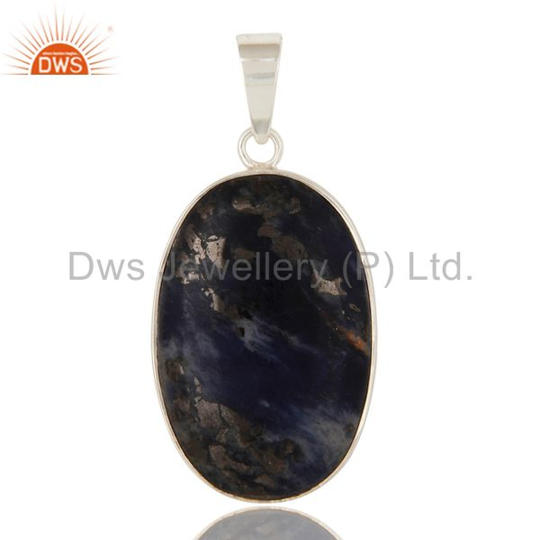 Natural Sodalite Gemstone Handmade Solid Sterling Silver Pendant
