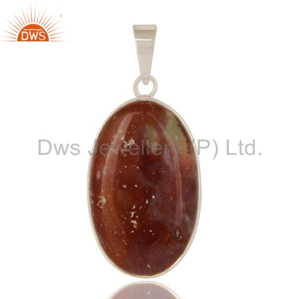 925 Sterling Silver Natural Blood Stone Semi-Precious Stone Bezel Set Pendant
