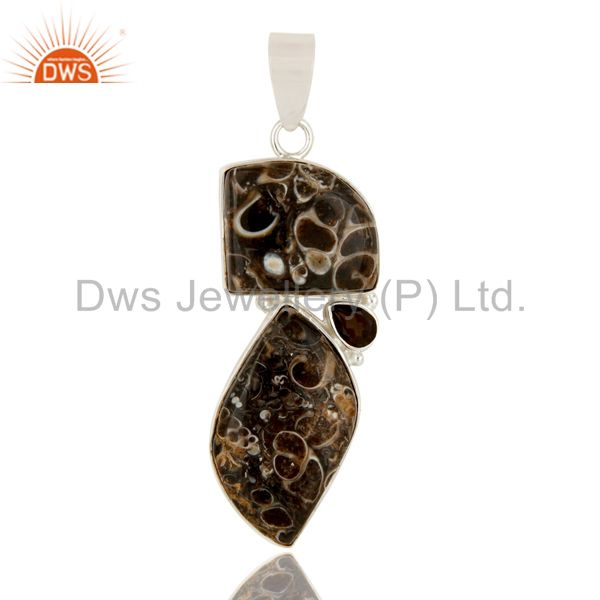 Handmade Turritella Agate And Smoky Quartz Sterling Silver Gemstone Pendant