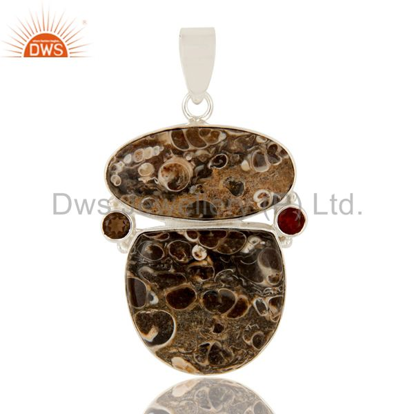 Natural Turritella Agate, Garnet And Smoky Quartz Sterling Silver Stone Pendant