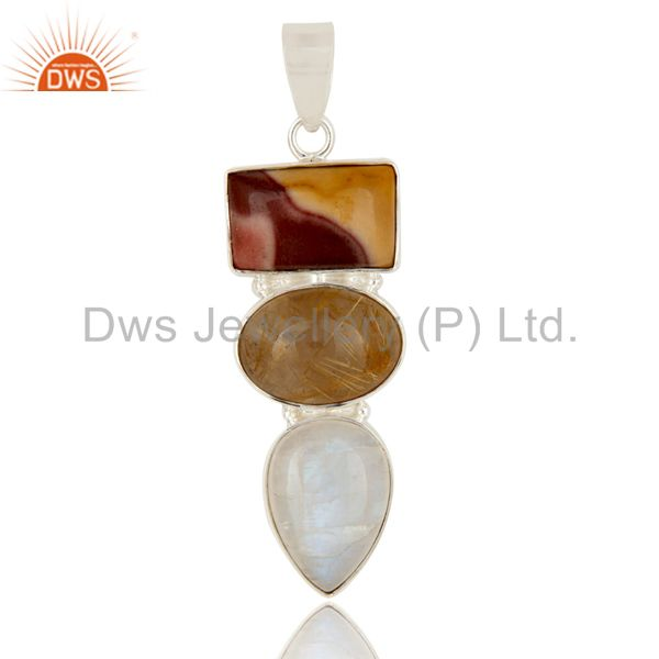 Rutilated Quartz, Rainbow Moonstone And Mookaite Sterling Silver Pendant