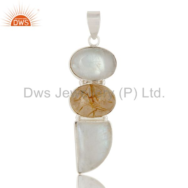Golden rutilated quartz and rainbow moonstone pendant made in sterling silver