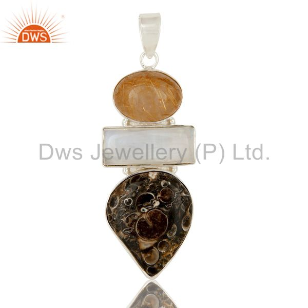 Rainbow Moonstone, Rutilated Quartz And Turritella Agate Sterling Silver Pendant