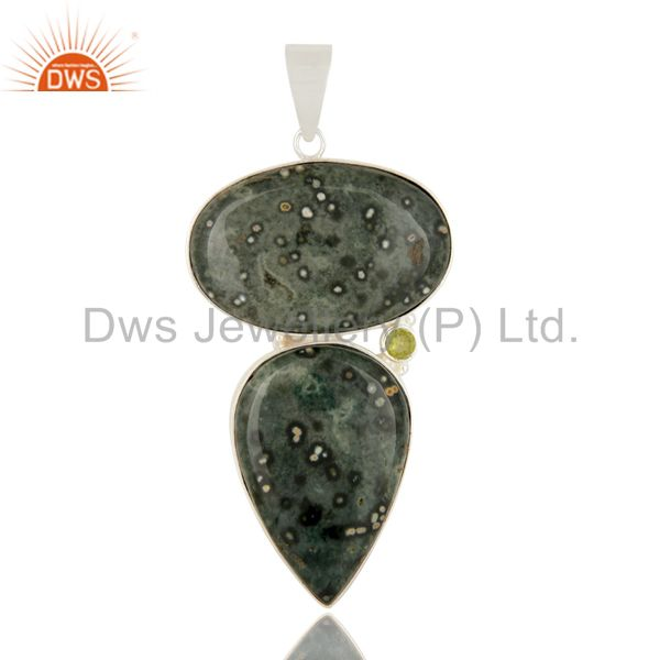 Natural Ocean Jasper And Peridot Gemstone Solid Sterling Silver Pendant