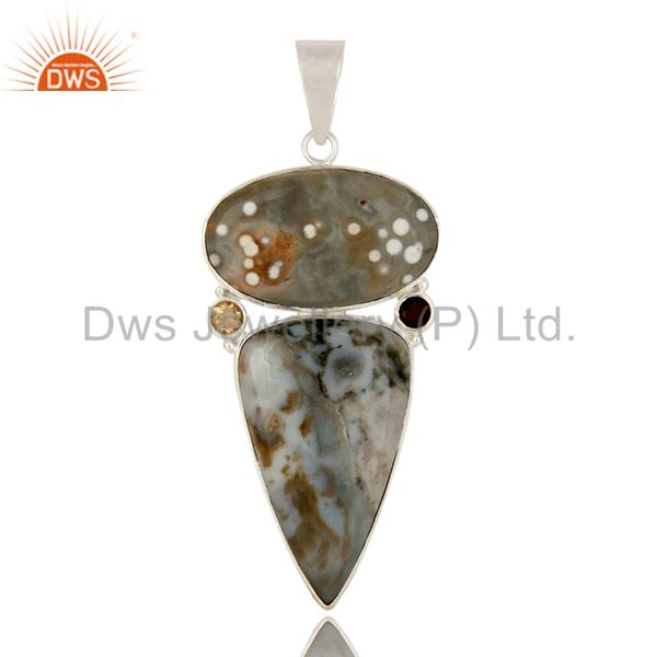 Natural Ocean Jasper, Citrine And Smoky Quartz Sterling Silver Bezel Set Pendant
