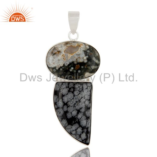 Natural Ocean Jasper And Snowflake Obsidian Solid 925 Sterling Silver Pendant