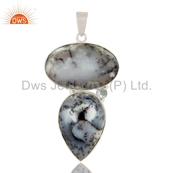 Handmade Solid Sterling Silver Dendritic Opal And Blue Topaz Bezel Set Pendant