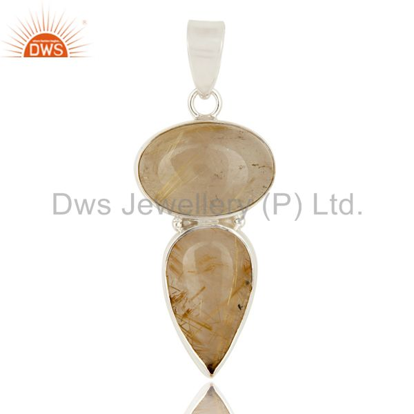 Handmade Solid Sterling Silver Rutilated Quartz Gemstone Bezel Set Pendant