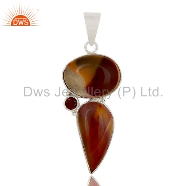 Handmade Solid Sterling Silver Mookaite And Garnet Gemstone Bezel Set Pendant