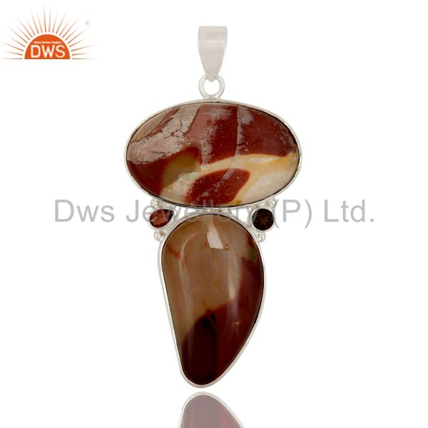 Natural Mookaite And Garnet 925 Sterling Silver Gemstone Bezel Set Pendant