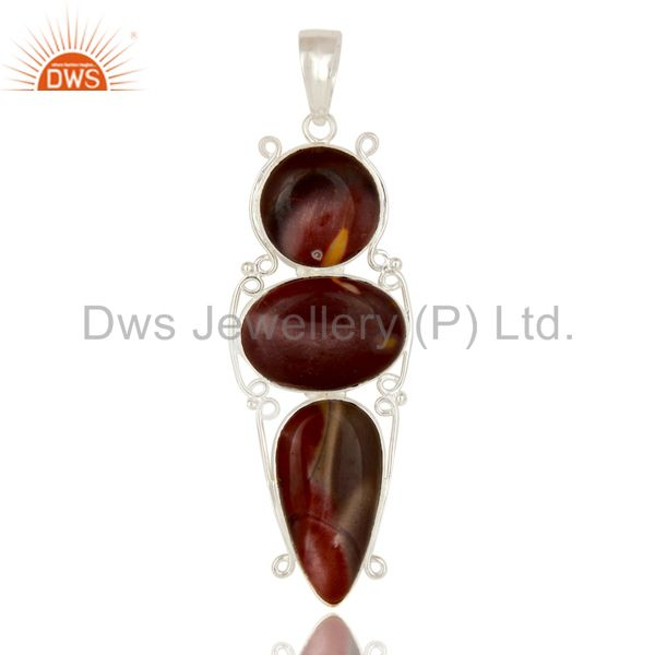 Handmade Solid Sterling Silver Mookaite Three Gemstone Bezel Set Pendant