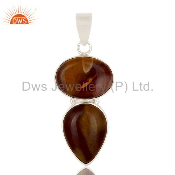 Natural Mookaite Solid Sterling Silver Double Gemstone Bezel Set Pendant