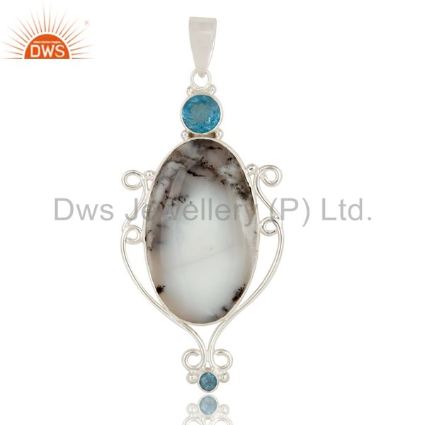 Handmade Sterling Silver Dendritic Opal And Blue Topaz Bezel Set Pendant