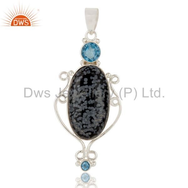 Handmade Sterling Silver Natural Snowflake Obsidian And Blue Topaz Pendant