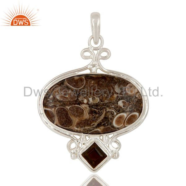 Handmade Turritella Agate And Smoky Quartz Solid Sterling Silver Pendant