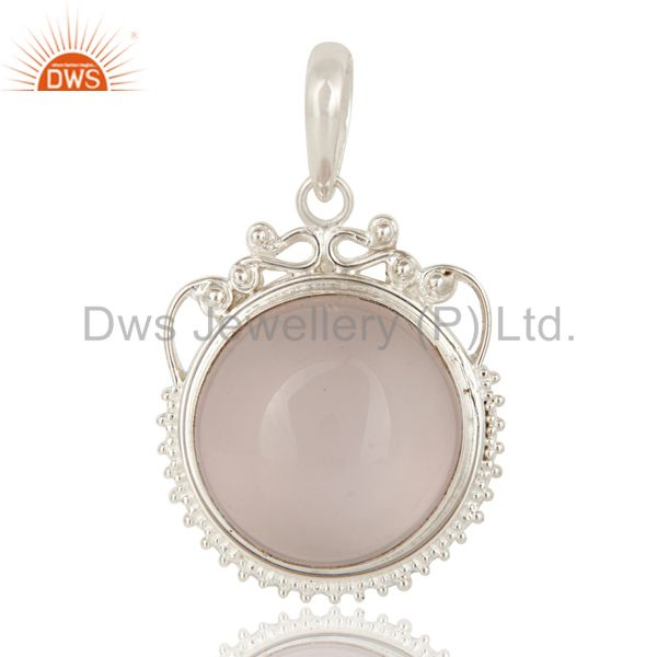 Handmade Sterling Silver Natural Rose Quartz Designer Gemstone Pendant