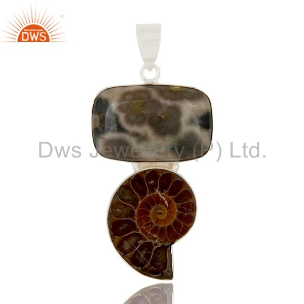 Handmade Sterling Silver Ocean Jasper And Ammonite Bezel Set Pendant