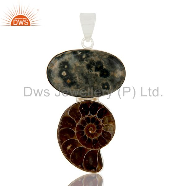 Handmade Sterling Silver Ammonite And Ocean Jasper Bezel Set Pendant