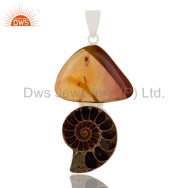 Handmade Solid Sterling Silver Ammonite And Mookaite Bezel Set Pendant