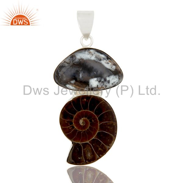 Handmade Sterling Silver Ammonite And Dendritic Opal Gemstone Pendant