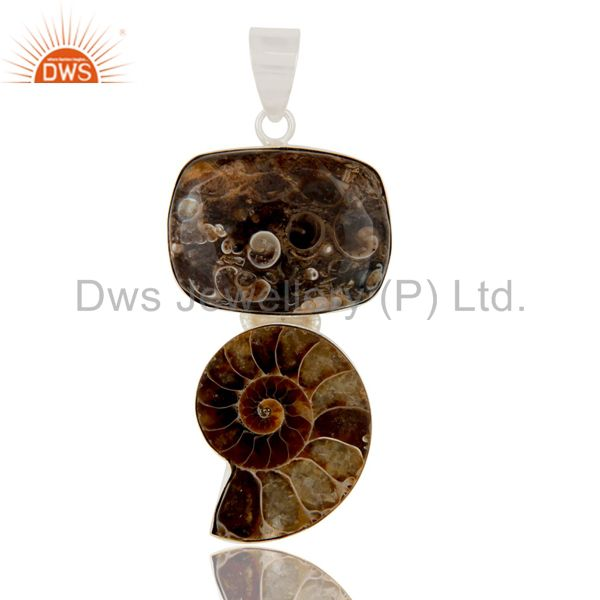 Handmade Turritella Agate And Ammonite Solid Sterling Silver Pendant