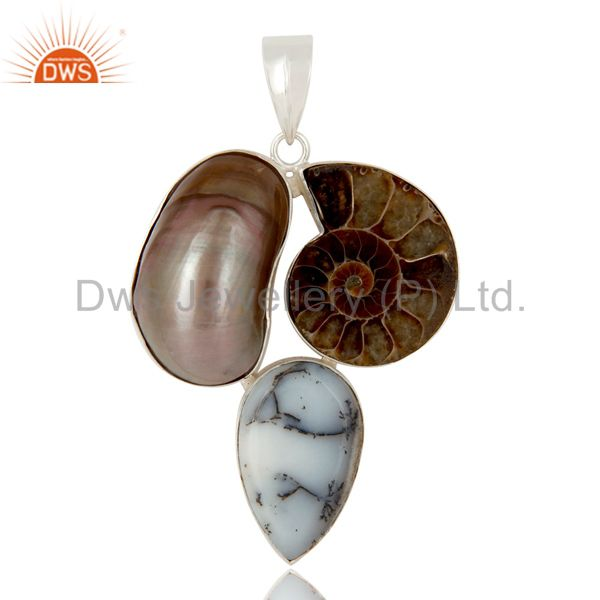 Natural Mabe Pearl, Dendritic Opal And Ammonite Solid Sterling Silver Pendant