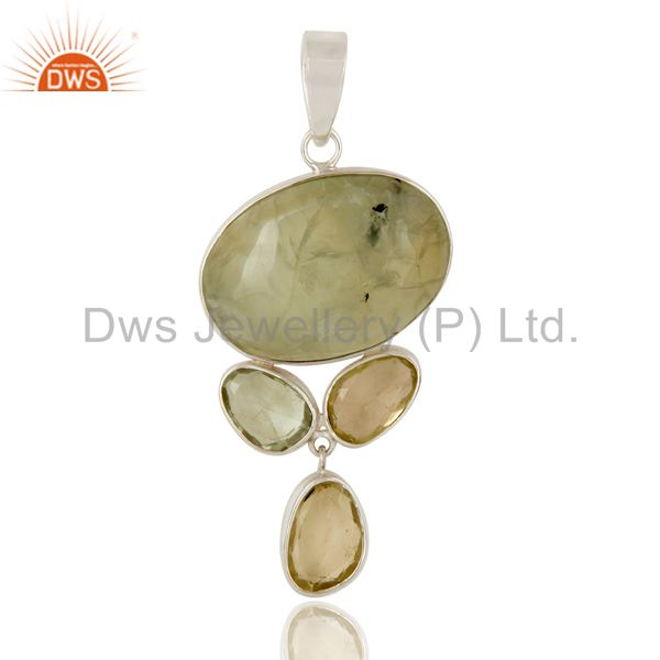 Prehnite, Green Amethyst and Lemon Topaz Sterling Silver Handmade Pendant