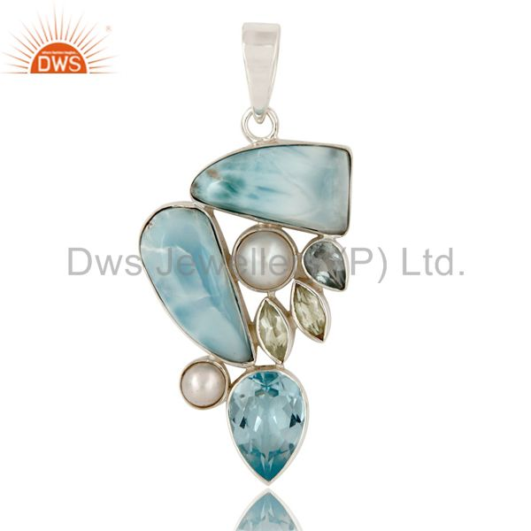 Larimar Pearl Blue Topaz and Green Amethyst 925 Silver Combination Pendant