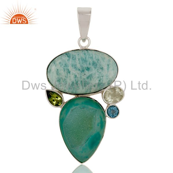 Simple Design Multi Color Cut Stone 925 Sterling Silver Artisan Pendant
