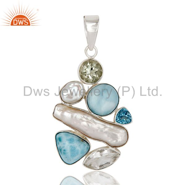 Larimar With Multi Color Stone 925 Sterling Silver Pendant